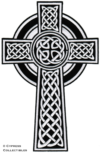 Large Celtic Cross Iron On Patch Embroidered Irish