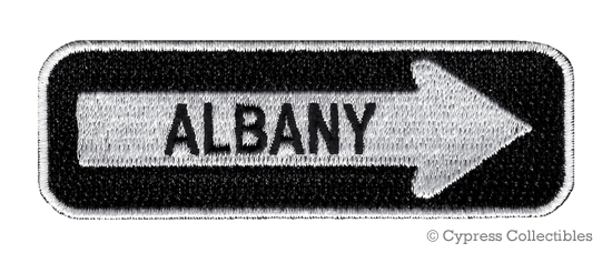 ALBANY ONE-WAY SIGN EMBROIDERED IRON-ON PATCH applique NEW