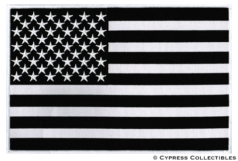 BLACK & WHITE AMERICAN FLAG EMBROIDERED IRON-ON PATCH ...