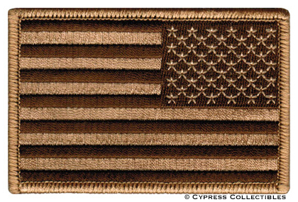 AMERICAN FLAG embroidered iron-on PATCH BROWN TAN USA US