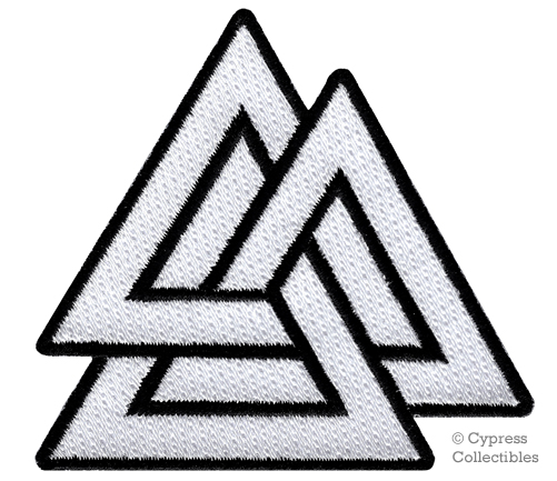 Valknut Triangle Patch Iron On Embroidered Norse Viking Odin Pagan