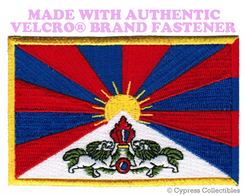 tibet flag patch buddhist dalai lama embroidered new w velcro